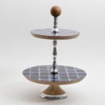 Gibson Mozambique Two-Tiered Cake Stand