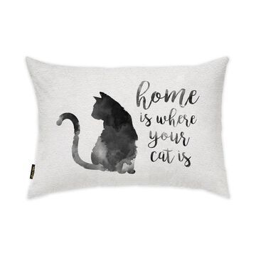 Oliver Gal 'Cat is Home' Typography and Quotes Decorative Throw Pillow Family Quotes and Sayings - Black, White