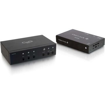 C2G Video Console/Extender - 3 Input Device - 1 Output Device - 230 ft Range - 2 x Network (RJ-45) - 2 x HDMI In - 1 x VGA In - 2 x HDMI Out - Serial Port - 4K - 4096 x 2160 - Twisted Pair - Category 6