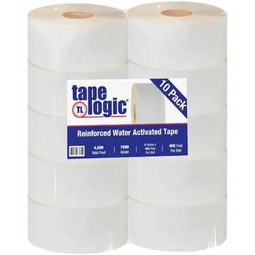 Tape Logic #7500 Reinforced Water Activated Tape, 3 x 450, White, 10/Case (T9077500W) | Quill