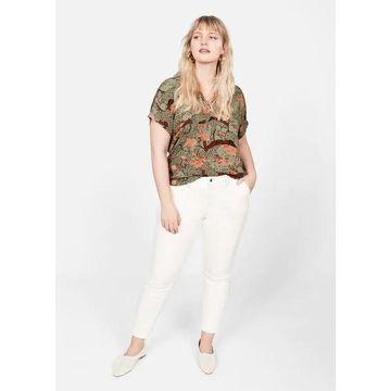 Violeta BY MANGO - Leopard print blouse green - XS - Plus sizes