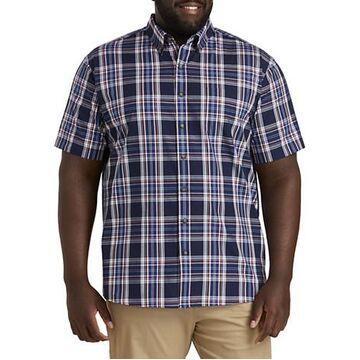 Big & Tall Harbor Bay Easy-Care Large Plaid Sport Shirt - Twilight Blue