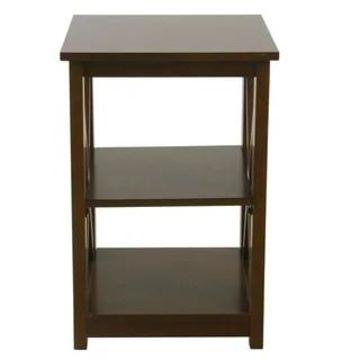 HomePop Square Dark Walnut Wood Accent Table with Shelf Storage (Walnut)