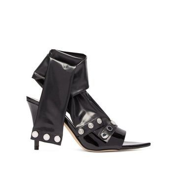 Christopher Kane - Latex-strap Patent-leather Mules - Womens - Black