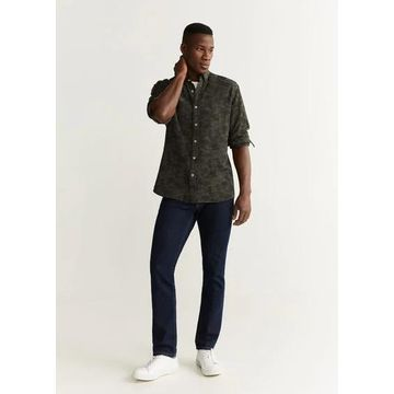 MANGO MAN - Textured camouflage jacquard shirt khaki - L - Men