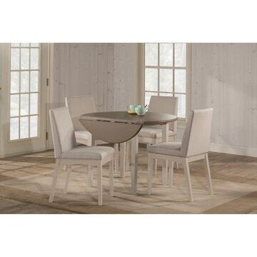 Hillsdale Furniture Clarion Five (5) Piece Round Drop Leaf Dining Set with Upholstered Chairs, Sea White