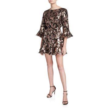 Marissa Metallic Ruffle Cocktail Dress