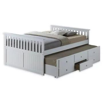 Storkcraft Kids Marco Island Full Captain's Bed With Trundle And Drawers In White
