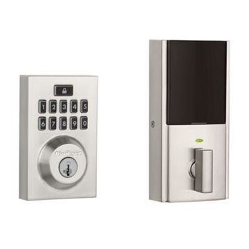 Kwikset 913 SmartCode Contemporary Electronic Deadbolt featuring SmartKey Security in Satin Nickel