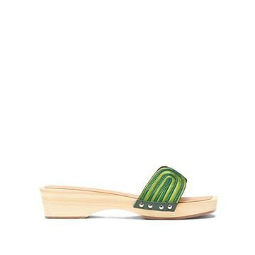 Ancient Greek Sandals - X Zeus + Dione The Harness Wooden-sole Slides - Womens - Green