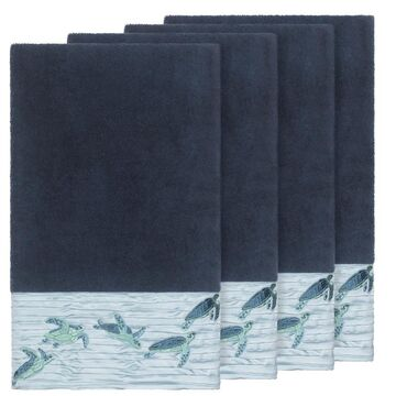 Authentic Hotel and Spa Turkish Cotton Turtles Embroidered Midnight Blue 4-piece Bath Towel Set