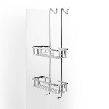 WS Bath Collections Filo 50030 Metal Hanging Double Corner Basket Polished Chrome Accessory Basket Shower
