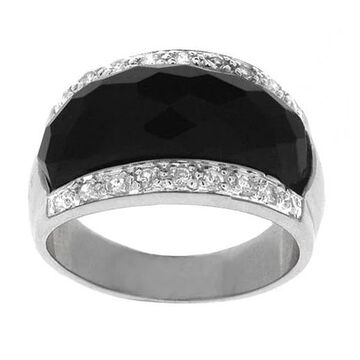 ICZ Stonez Sterling Silver Faceted Onyx and CZ Ring (5)
