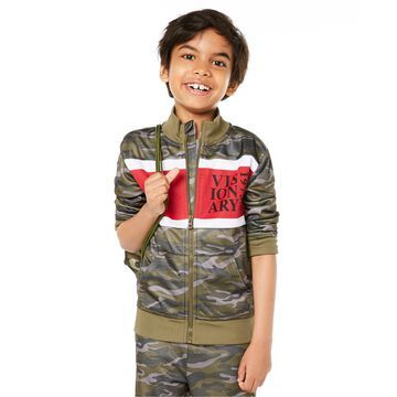 Little Boys Colorblocked Camouflage Tricot Jacket, Created for Macy's