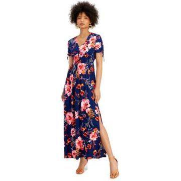 Bar Iii Floral-Print V-Neck Smocked-Waist Maxi Dress, Created for Macy's