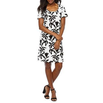 Ronni Nicole Short Sleeve Floral Shift Dress
