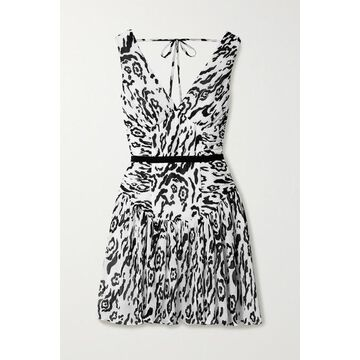 Self-Portrait - Leopard-print Plisse-chiffon Mini Dress - White