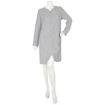 Miss Elaine Textured Long Sleeve Short Zip Robe