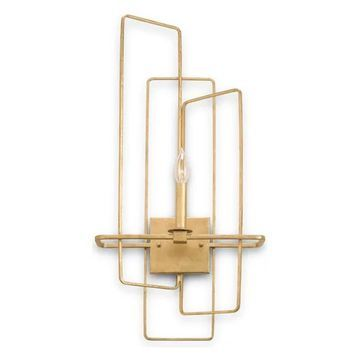 Currey and Company 5164 Metro 1 Light Candle Style Wall Sconce - Gold