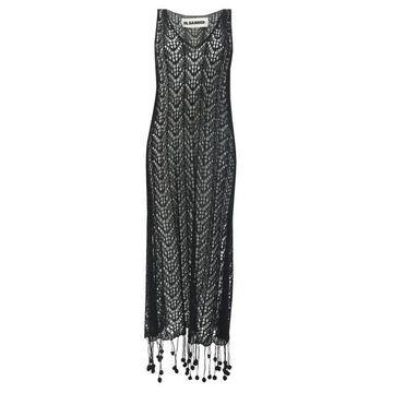 Jil Sander - Pompom-hem Crochet-cotton Dress - Womens - Black