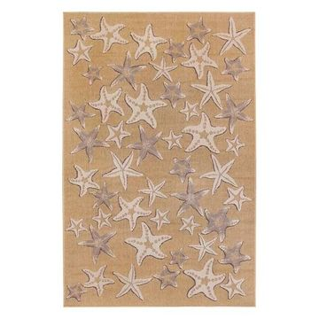 Trans Ocean Carmel Starfish 8415/12 Striped Outdoor Rug, Sand, 4'11