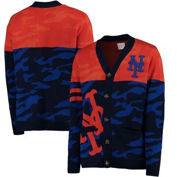 New York Mets Camouflage Cardigan Sweater - Royal
