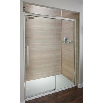Jacuzzi 44-in to 48-in W Semi-Frameless Brushed Nickel Bypass/Sliding Shower Door