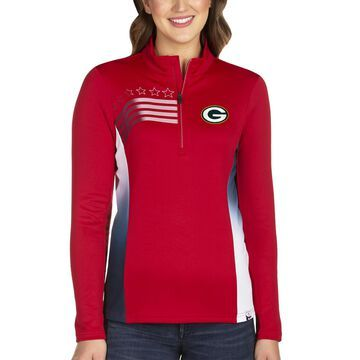 Women's Antigua Red Green Bay Packers Liberty Quarter-Zip Pullover Jacket
