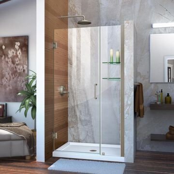 DreamLine Unidoor 72-in H x 42-in to 43-in W Frameless Hinged Brushed Nickel Shower Door (Clear Glass) | SHDR-20427210S-04