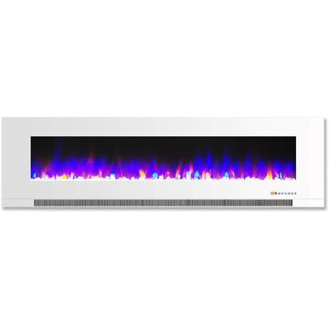 Cambridge 60 In. Wall-Mount Electric Fireplace in White with Multi-Color Flames and Crystal Rock Display