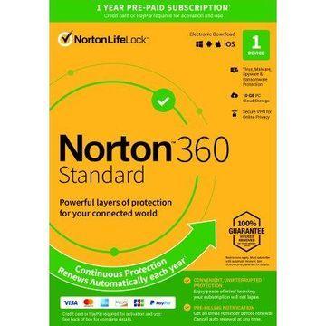 Norton 360 Standard, Antivirus Software, 1 Device, 1 Year with Auto Renewal, PC/Mac Download