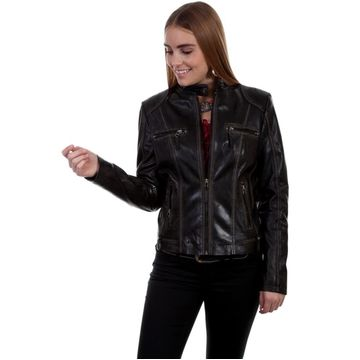 Scully Western Jacket Woens Tailored Leather Zip Closure L8