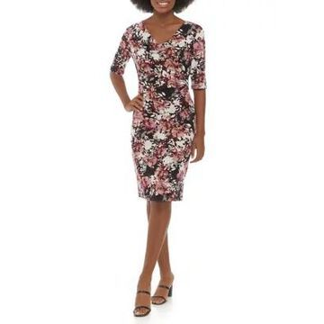 Connected Apparel Women's 3/4 Sleeve Cowl Neck Floral Dress -
