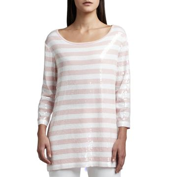 Petite Sequined Striped Tunic