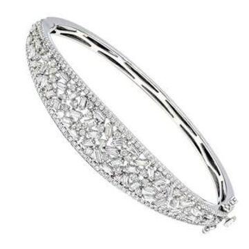 Ladies Unique 14K Gold Baguette & Round Diamond Bangle Bracelet 3ctw by Luxurman