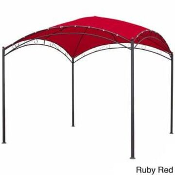 International Caravan St. Kitts 10-foot Steel/ Polyester Fabric Square Dome-top Gazebo (Ruby Red)