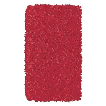 The Rug Market Shaggy Raggy 3 x 5 Red Solid Handcrafted Area Rug   02215B