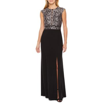 R & M Richards Cap Sleeve Lace Top Evening Gown