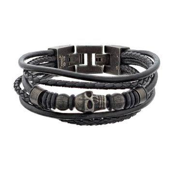 LYNX Men's Black Leather Multistrand Bracelet
