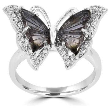 La Vita Vital 14k White Gold Natural Tourmaline and 1/5ct TDW Diamond Butterfly Ring