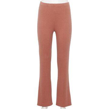 Juniors' WallFlower Cotton Ribbed Flare Pants, Girl's, Size: Medium, Lt Beige
