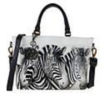 Anuschka Hand Painted Leather Multi-Compartment Tote - Zebra Crossing