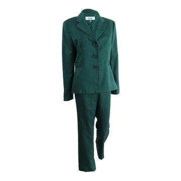 Le Suit Women's Pinstripe Shimmer Pantsuit - Emerald Multi