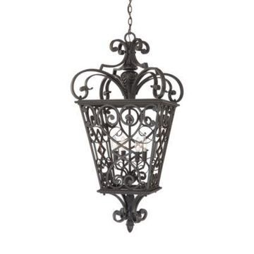 Quoizel Fort Quinn 4-Light 41-Inch Ceiling-Mount Hanging Outdoor Lantern in Marcado Black