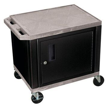 Luxor Tuffy Gray 2-Shelf AV Cart With Black Cabinet and Electric