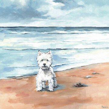 Parvez Taj Little White Doggie Canvas Wall Art
