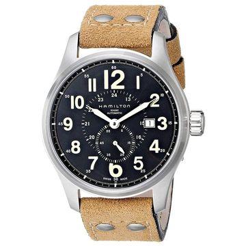 Hamilton Men's 'Khaki Field Officer' GMT Automatic Beige Leather Watch