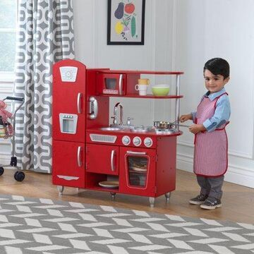 KidKraft Wooden Vintage Play Kitchen - Red with 1 Piece Accessory Play Set