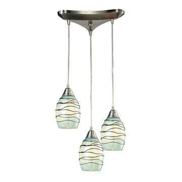 Westmore Lighting Tendril Satin Nickel Mini Transitional Textured Glass Teardrop Pendant Light