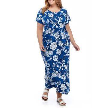 Ronni Nicole Women's Plus Size Short Sleeve Floral Tie Midi Dress - -